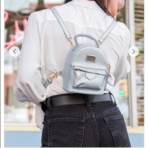 Handbags - NWT Structured Mini Backpack Book Bag Silver
